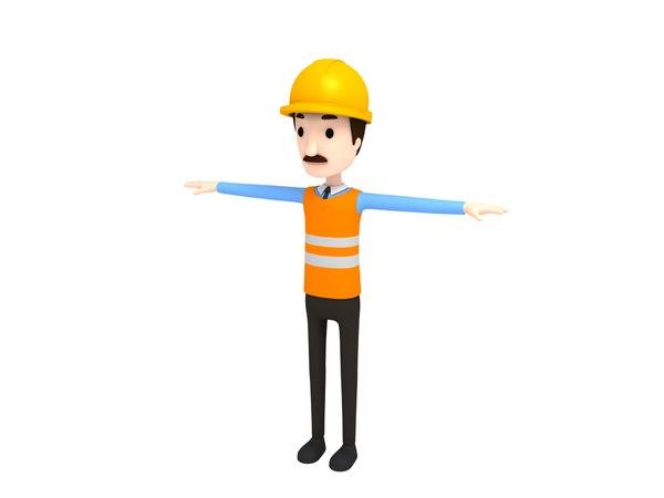 engineer character cartoon model