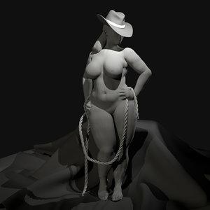 3D nude female curvy