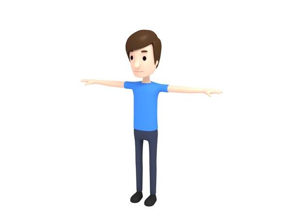 3D model man character cartoon