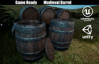 3D model ready medieval wooden barrel