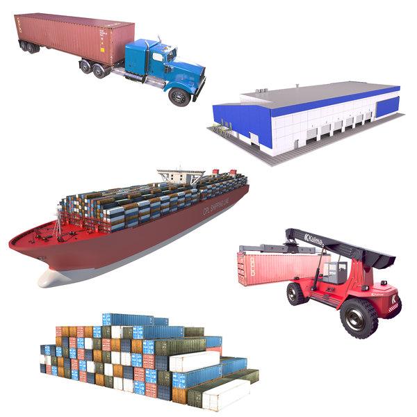 logistics truck building 3D model