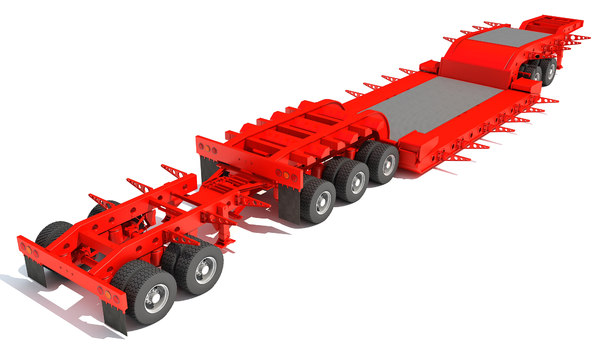 3D heavy haul lowboy trailer model