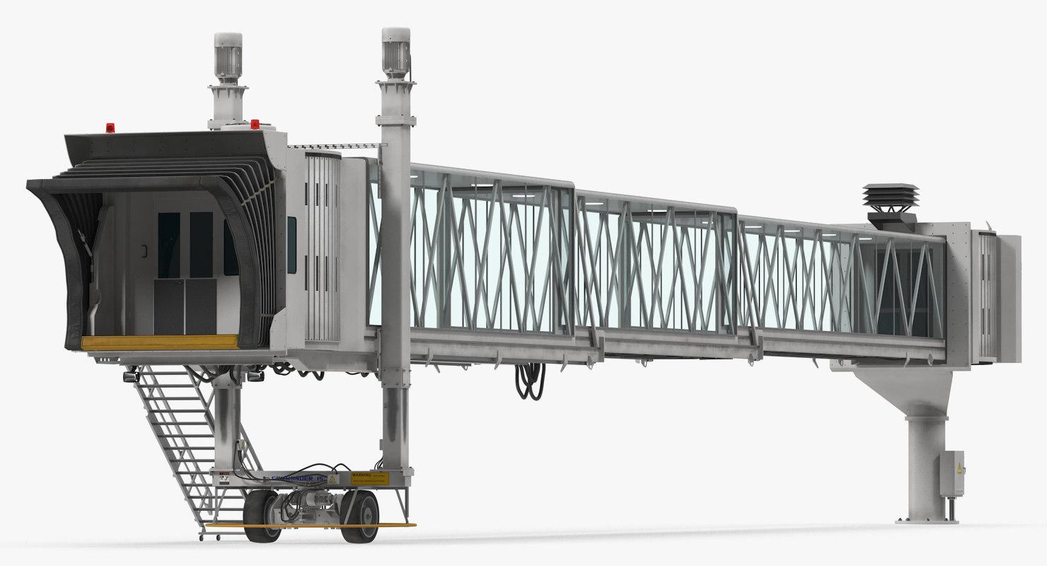 3D airport terminal jetway bridge model