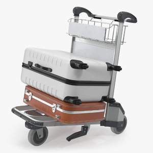 airport trolley suitcases air 3D model