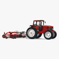 Tractor with Used Twin Rotary Rake Generic