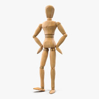 Wooden Dummy Toy Standing Pose 3D Model