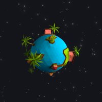 low-poly planet 3D model
