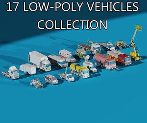 17 trucks vehicles 3D
