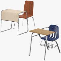 3D model student desks