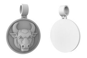 3D jewelry pendant bull taurus model
