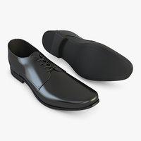 3D black leather shoes
