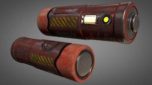 3D model sci-fi aa type battery
