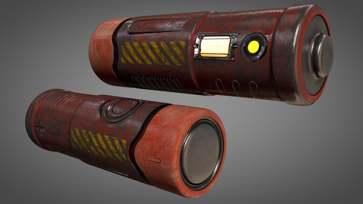 3D model sci-fi aa type battery