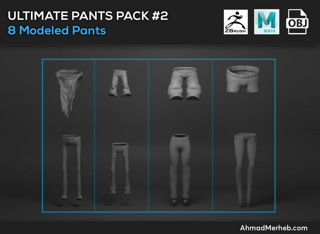 3D pants packs model