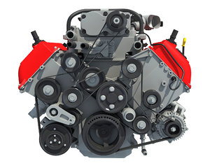 3D v8 engine gasoline ignition model