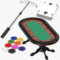 poker table chips cards 3D model