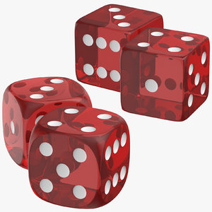 3D red transparent dices model