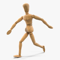 Wooden Dummy Toy Running Pose 3D Model
