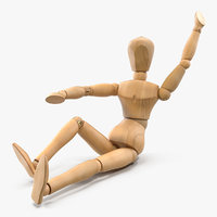 Wooden Dummy Toy Sitting Pose 3D Model