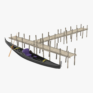 3D wooden old pier gondola model
