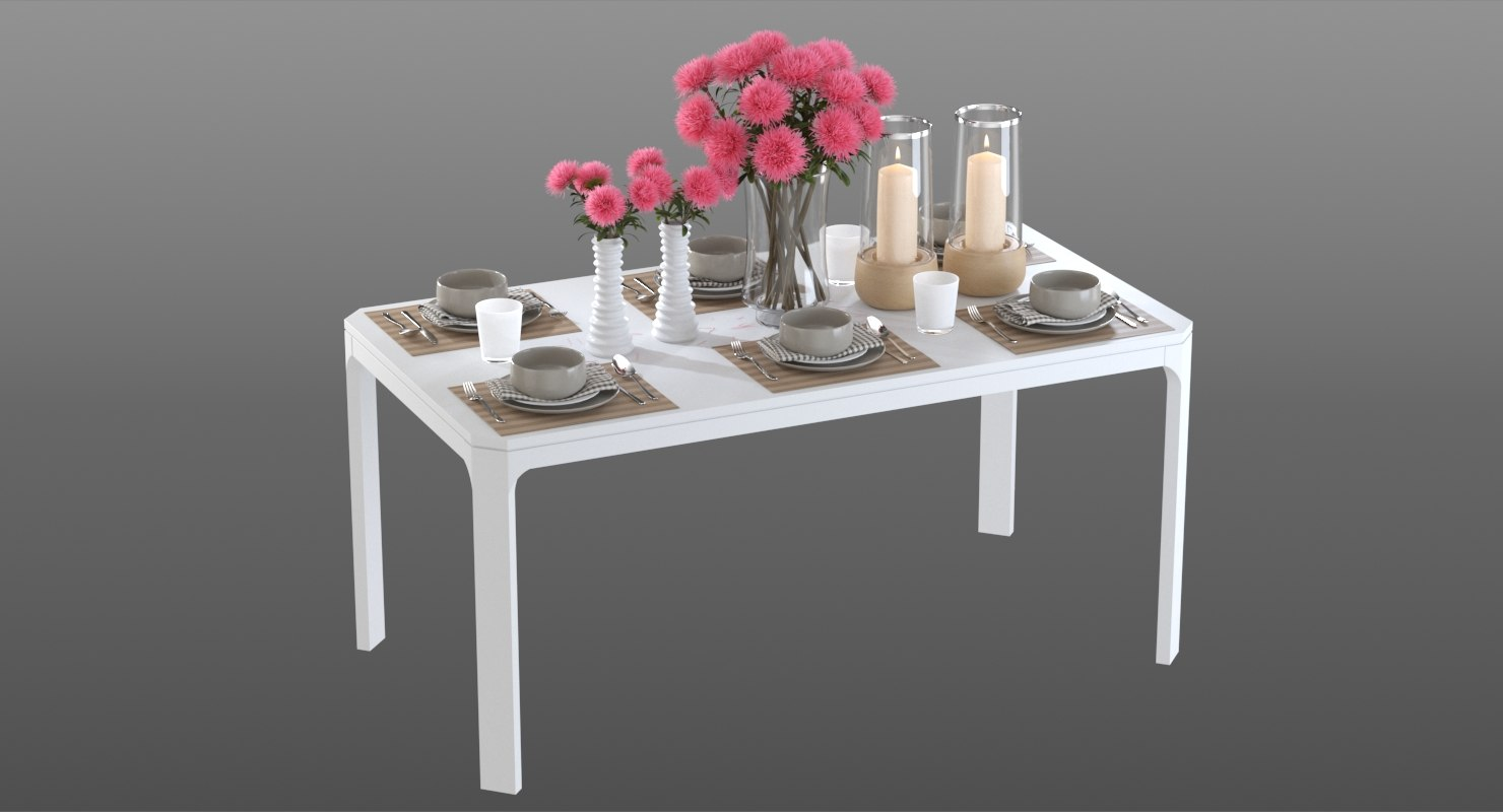 realistic dinner table asters 3D model