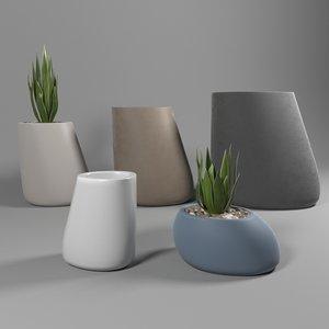 stones planters 3D model