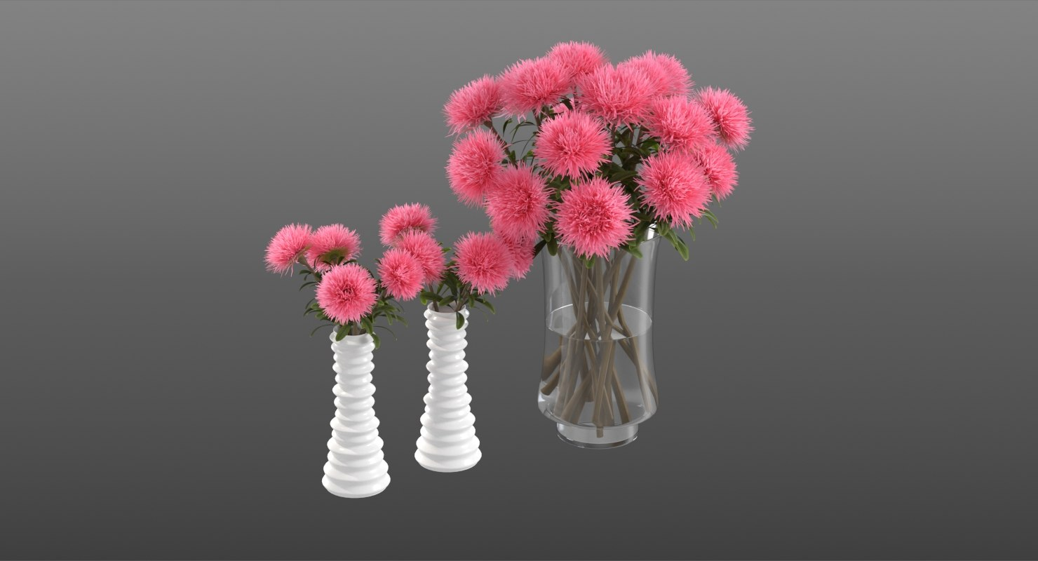 realistic pink asters 3D model
