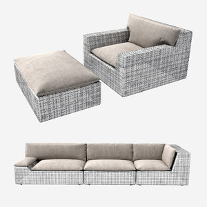 3D model sofa dedon lou seat