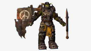 3D character armored military troll model