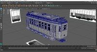Tram 3D Model Maya 2017 obj and fbx
