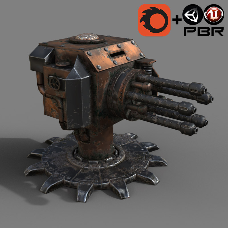 3D steampunk turret
