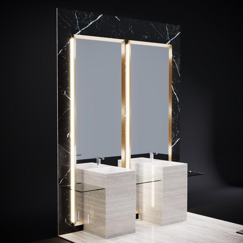 bathroom mirrors marble wall 3D model