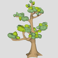 Low poly huge ash tree 3d model