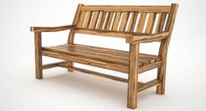 wood reclining chair 3D model