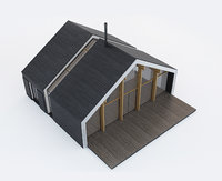 wooden forest cabin 3D