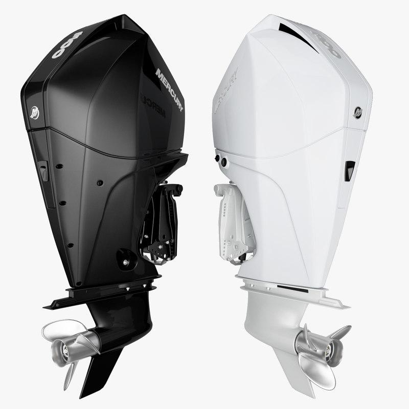 3D mercury fourstroke 300hp v8 model