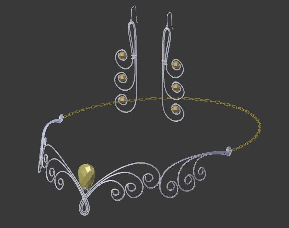 set ferrannier earrings 3D model