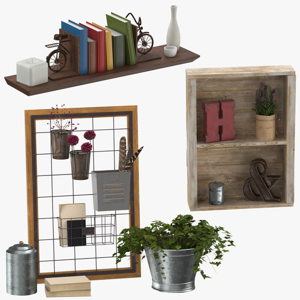 3D shelving decors model