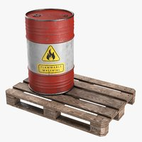 3D model steel barrel pallet 02