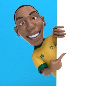 3D fun football soccer player