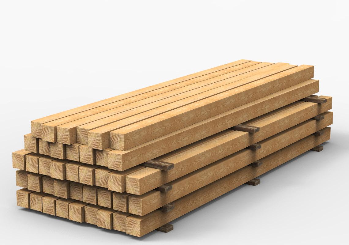 wooden beams 3D model