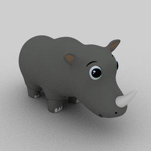 3D rhinoceros cartoon animation model