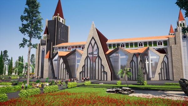 3D model modern cathedral