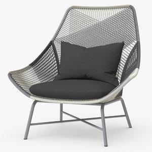 3D model west huron large lounge chair