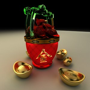 chinese gold ingot bucket 3D model