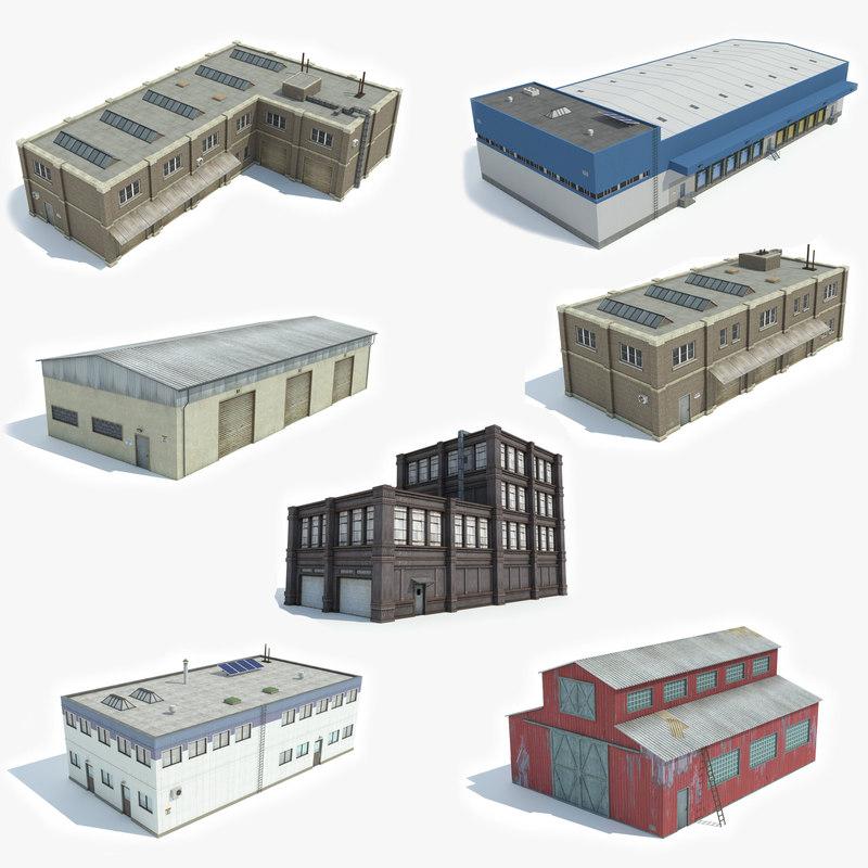 ready 7 industrial factory 3D model