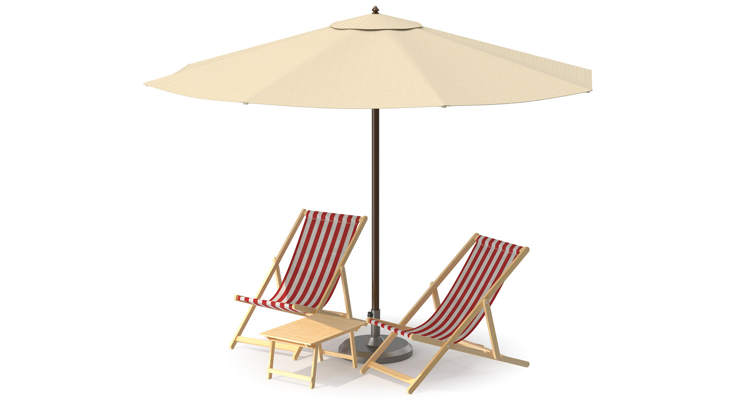 3D beach chair umbrella model