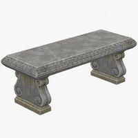 3D model stone bench pbr ready