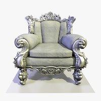 baroque velvet armchair 3 3D model