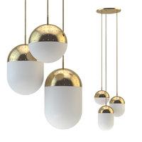 pendant light woud gold 3D model